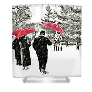 Central Park Snow And Red Umbrellas Shower Curtain