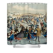 Central Park, Winter The Skating Pond, 1862 Shower Curtain
