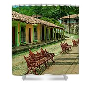 Central Plaza In Copala Shower Curtain