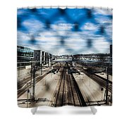 Central Train Station In Oslo Shower Curtain
