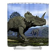 Centrosaurus Dinosaurs - 3d Render Shower Curtain