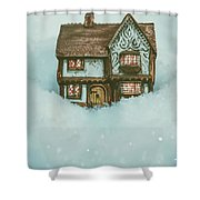 Ceramic Cottage In Snow Shower Curtain