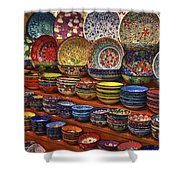 Ceramic Dishes Shower Curtain