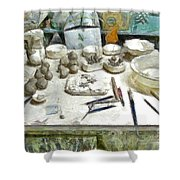 Ceramic Objects And Brushes On The Table Shower Curtain