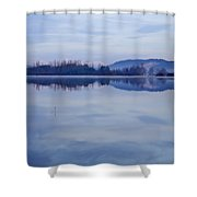 Cerknica Lake At Dawn With Snow Covered Alps In Background Shower Curtain