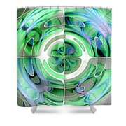 Cerulean Blue And Jade Abstract Collage Shower Curtain
