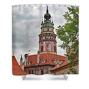 Cesky Krumlov Castle Tower In Cesky Krumlov Of The Czech Republic Shower Curtain