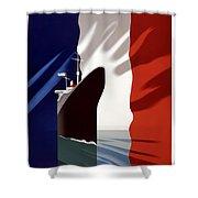 C.g. Transatlantique Vintage Travel Poster Shower Curtain