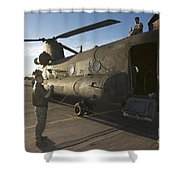 Ch-47 Chinook Crew Preparing To Load Shower Curtain