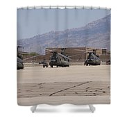 Ch-47 Chinook Helicopters On The Flight Shower Curtain