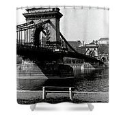 Chain Bridge Of Budapest In 1990 Shower Curtain