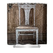 Chair In Abandoned Home In Bodie Ghost Town Shower Curtain by Bryan Mullennix