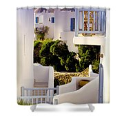 Chair On Balcony In Mykonos Shower Curtain