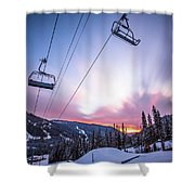 Chairlift Sunset Shower Curtain