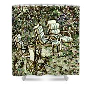 Chairs In Backyard Shower Curtain
