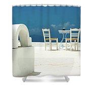 Chairs Of Santorini Shower Curtain