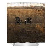 Chairs Overlook A Scenic Pasture Shower Curtain