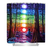 Chakra Meditation In The Redwoods Shower Curtain by Laura Iverson