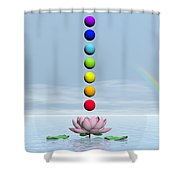 Chakras And Rainbow - 3d Render Shower Curtain