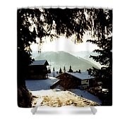 Chalet Through The Trees Shower Curtain