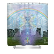 Chalice Over Stonehenge In Flower Of Life And Man Shower Curtain
