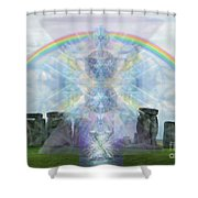 Chalice Over Stonehenge In Flower Of Life Shower Curtain