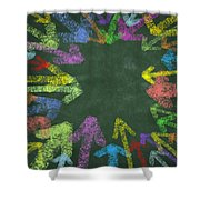 Chalk Drawing Colorful Arrows Shower Curtain