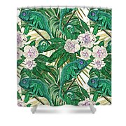 Chameleons And Camellias  Shower Curtain