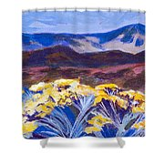 Chamisa And Mountains Of Santa Fe Shower Curtain