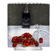 Champagne Bottle With Strawberry Tarts And 2 Glasses Shower Curtain