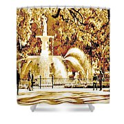 Champagne Twilight Forsyth Park Fountain In Savannah Georgia Usa  Shower Curtain