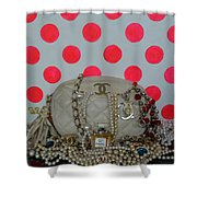 Chanel And Pink Polka Dots Shower Curtain