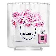 Chanel Bag With Pink Peonys Shower Curtain