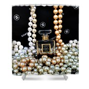 Chanel Coco With Pearls Shower Curtain
