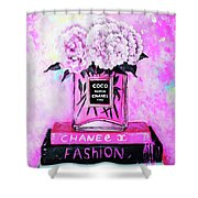 Chanel Perfume With Peony Shower Curtain