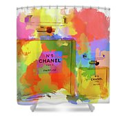 Chanel Five Watercolor Shower Curtain