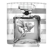 Chanel Flower Grey Shower Curtain