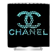 Chanel Light Blue Points Shower Curtain