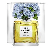 Chanel N.5 Yellow Bottle Shower Curtain