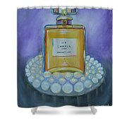 Chanel No 5 With Pearls Painting Shower Curtain