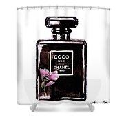 Chanel Noir Magnolia Pink Shower Curtain