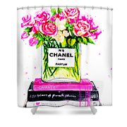 Chanel Nr 5 Flowers With  Perfume Shower Curtain