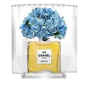 Chanel Perfume Nr 5 With Blue Hydragenias  Shower Curtain