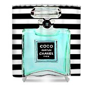 Chanel Perfume Turquoise Chanel Poster Chanel Print Shower Curtain