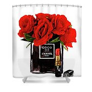 Chanel Perfume With Red Roses Shower Curtain