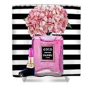 Chanel Poster Pink Perfume Hydrangea Print Shower Curtain
