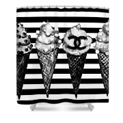 Chanel Print, Ice Cream On Stripes Shower Curtain