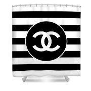 Chanel - Stripe Pattern - Black And White 2 - Fashion And Lifestyle Shower Curtain