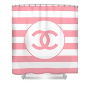 Chanel - Stripe Pattern - Pink - Fashion And Lifestyle Shower Curtain