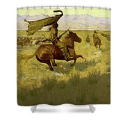 Change Of Ownership -the Stampede Horse Thieves Shower Curtain